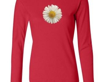 Ladies Flower Shirt White Daisy Long Sleeve Tee T-Shirt DAISY-5001