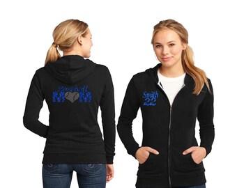 Baseball Mom Heart Baseball with Rhinestone Women's Fleece Hoodie Sweatshirt Jacket