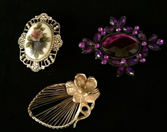 60-80's Lot of 3 Lovely Brooches                               VG1476