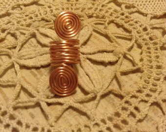 Copper coiled loc jewel