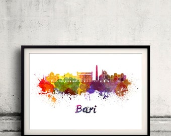 Bari skyline in watercolor over white background with name of city 8x10 in. to 12x16 in. Poster art Illustration Print  - SKU 0563