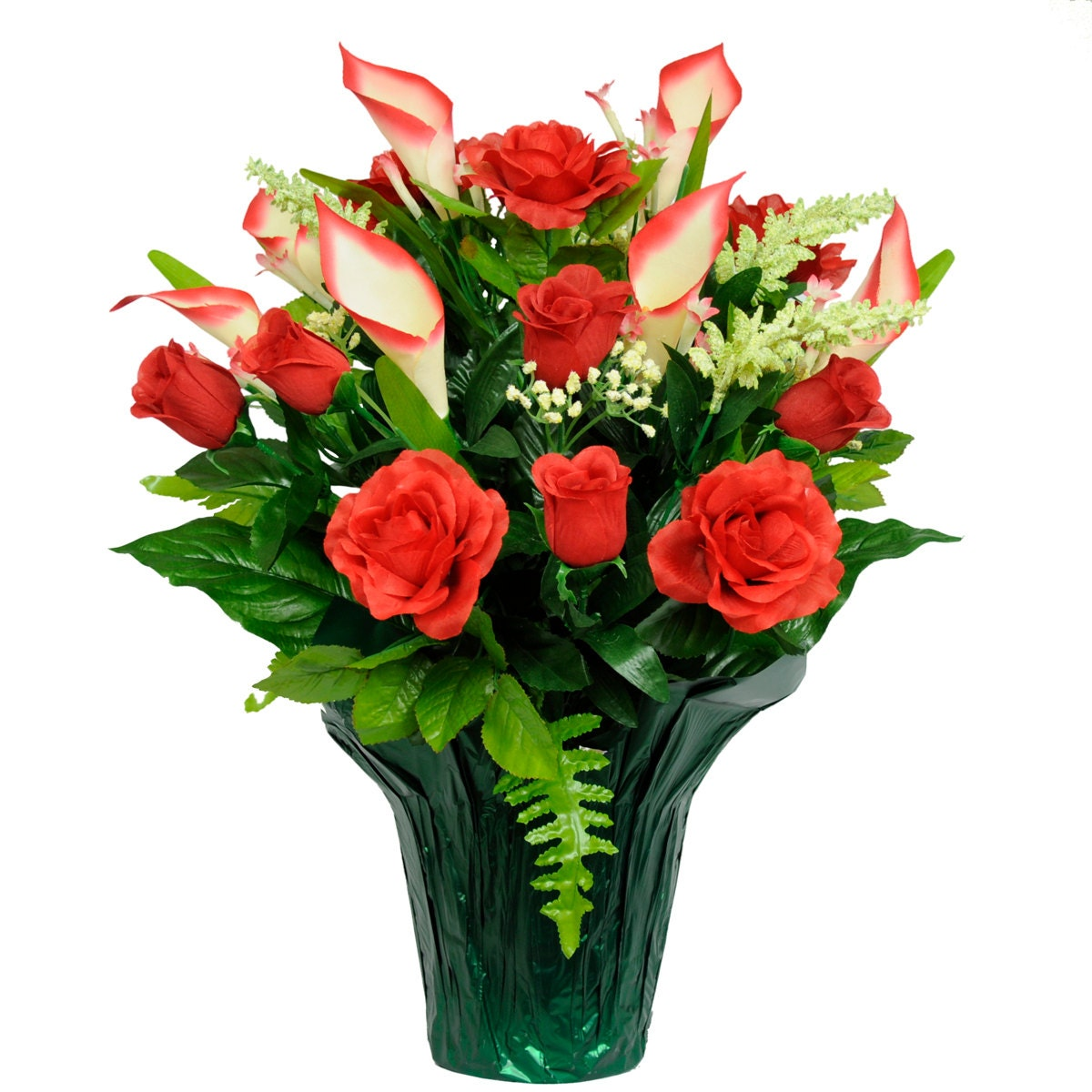 Red Roses and Calla Lily Potted Silk Flower Arrangement