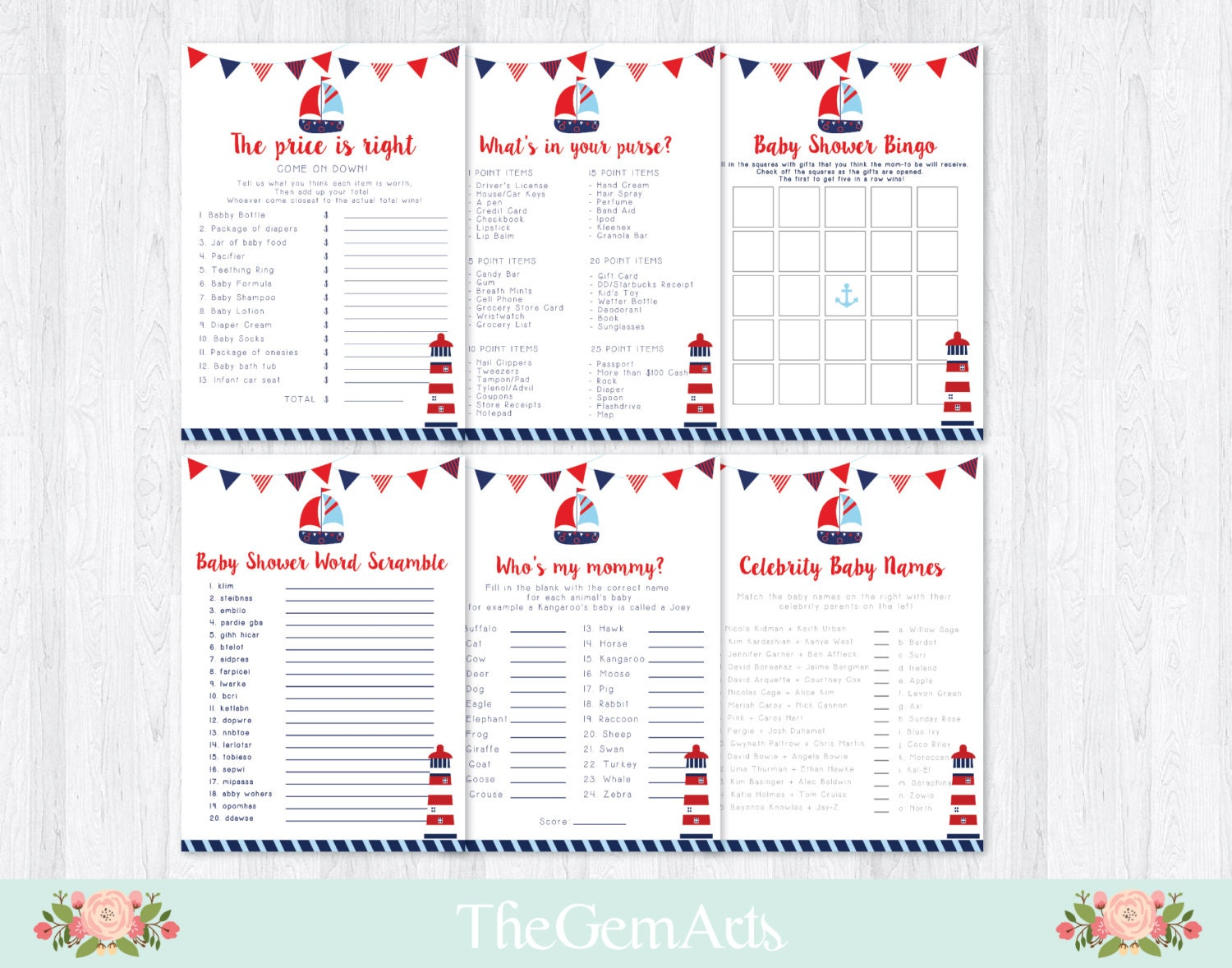 nautical baby shower games set6 set navy blue red by thegemarts