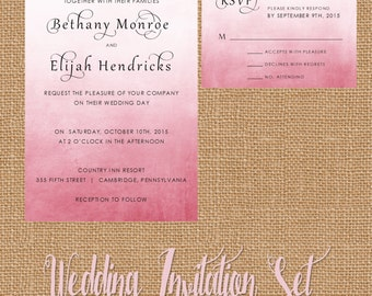 Pink Wedding Invitation, Pink Watercolor Invitation, Pink Ombre Wedding Invitation