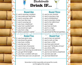 Bachelorette Party Game - Drink If - Coral - Printable - Instant Download - TFD189