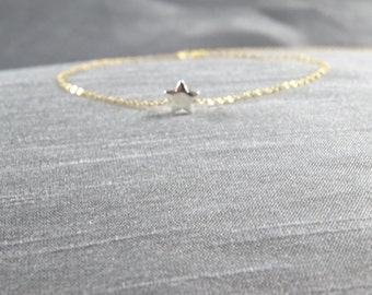 Star bracelet, Sterling Silver star bracelet, Make a wish star bracelet, Flower girl bracelet, Star jewelery