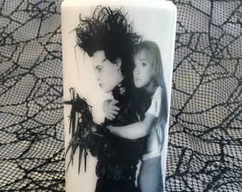 Edward Scissorhands and Kim Unscented White Pillar Candle