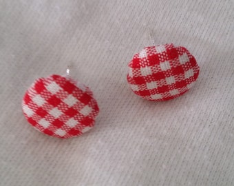 Red gingham print fabric earrings