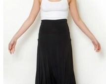 Black Maxi Skirt Fold Over Sexy Skirt  Long Full Length Skirt High Waist Summer Skirt Strapless dress