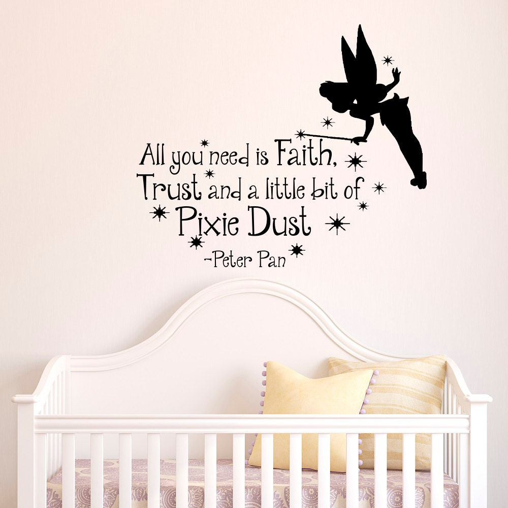 peter pan wall decal quote all you need is faith by fabwalldecals. Black Bedroom Furniture Sets. Home Design Ideas