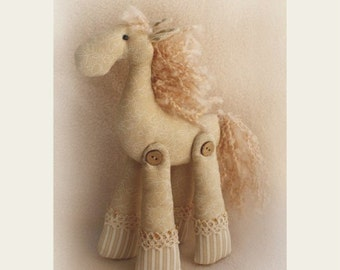 DIY Kit  Horse Tilda style primitive artistic rag cloth doll sewing pattern and dollmaking materials pastel beige cotton fabric softie  toy