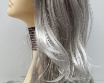 Long 26 inch Silver Straight and Wavy Wig. Cosplay Wig. Scene Wig. Mermaid Wig. Wavy Ends with Bangs. [14-109-Cara-Silver]