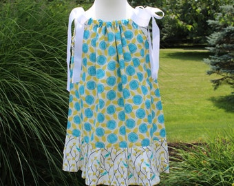 SALE...Little Girls Pillowcase Dress, Spring Dress, Easter Dress, Blue and Gold Floral with Birdie Trim, Size 3 Ready to Ship