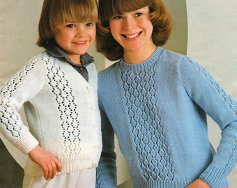 Girl's Cardigan and Sweater Knitting Pattern 24 - 34 inches