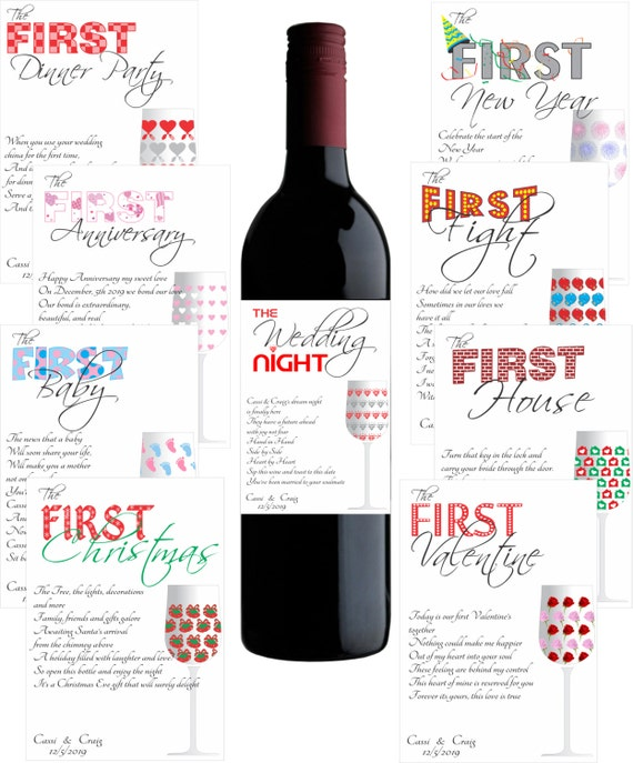 Wine Label Customizable Wedding Gift First Milestones with Poems ...
