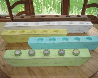 Wood Candle Holder Tea Light Votive Centerpiece Handcrafted 2-3ft Many Colors