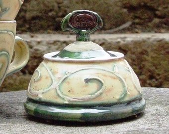 Pottery sugar bowl, Ceramic Sugar cellar, Lidded sugar bowl, Clay sugar bowl, Sugar keeper, Sugar container, Pottery handmade