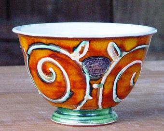 Pottery Cereal Bowl, Handmade Ceramic Soup Bowl, Salad Bowl, Ice Cream Bowl, Serving Bowl, Orange Cereal Bowl, Nuts Bowl