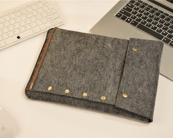 "Dark Grey Macbook 13 , Felt Macbook 13"" Case , Felt Macbook 13 Sleeve , Macbook 13"" , Macbook 13 Retina #207"