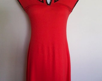 Calico dress, S, red dress, red 70's dress, cotton dress, spring dress, summer dress, mod dress, sweet dress