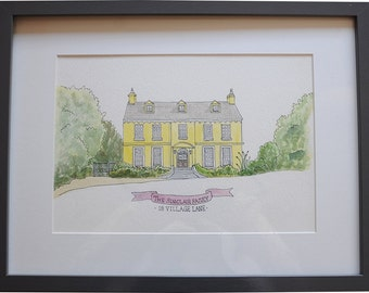 ORIGINAL Custom House Portrait.House Illustration.New Home/Anniversary gift.Bespoke home drawing. Watercolour.House Portrait.