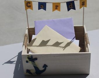 Nautical wedding card box, customizable wedding cardholder, nautical wedding decor