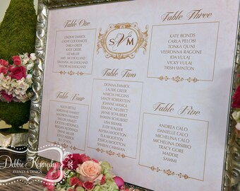 Blush & Gold Wedding Seating Chart - Custom Designed Escort Sign - Made to Order Design - Wedding Reception Seating - Baroque Collection