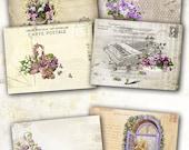75% OFF SALE Vintage Cards Carte Postale de Fleurs - Digital collage sheet - Printable Download - Tags - Vintage - Digital Image - ATC