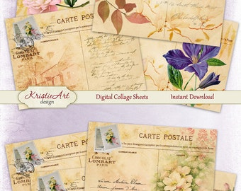 75% OFF SALE Floral Postcard - Digital Collage Sheet Digital cards C087 Printable download image Tags Digital Vintage Atc card ACEO Flowers