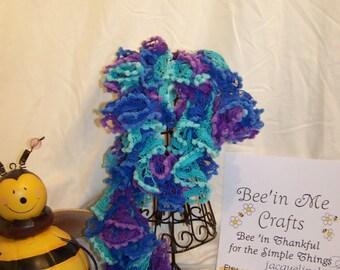 verigated lightweight crocheted scarf