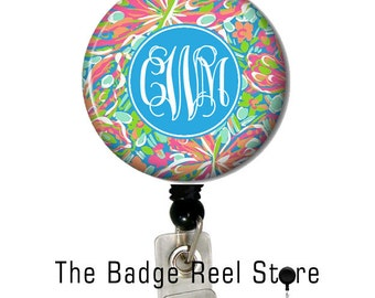Retractable ID Badge Holder - Badge Reel - Preppy Floral