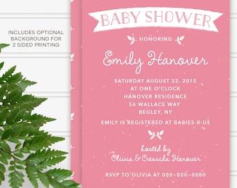 Simple raspberry pink baby shower custom invitation printable DIY