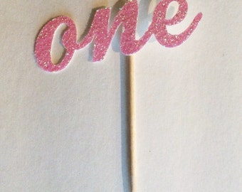 "12 sparkly Glitter ""one"" Cupcake Toppers perfect for 1st first birthday"