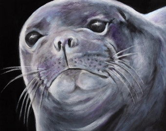 monk seal painting 8 5 x 11 print from original acrylic painting. Black Bedroom Furniture Sets. Home Design Ideas