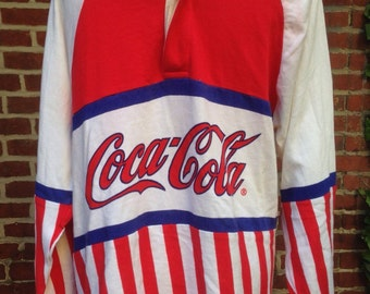 Vintage coke CocaCola Raquet Club 1987 shirt sz Small long sleeve polo