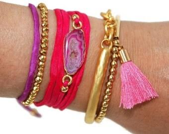 Quartz and silk cord wrap bracelet, silk ribbon wrap, quartz bracelet, pink ribbon bracelet, boho bracelet, stacking bracelet, gift for her