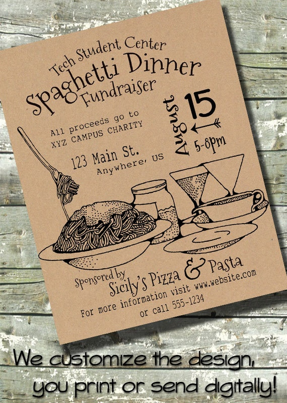 spaghetti dinner flyer 5x7 invite flyer 11x14. Black Bedroom Furniture Sets. Home Design Ideas