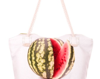 Watermelon Bag Berry Print Bag White and Green Handbag Fruit Tote Bag Cotton Handbag Zipper Bag (C0904)