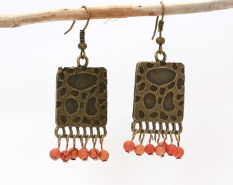 Handmade Magnesite and Antiqued Brass Chandelier Earrings