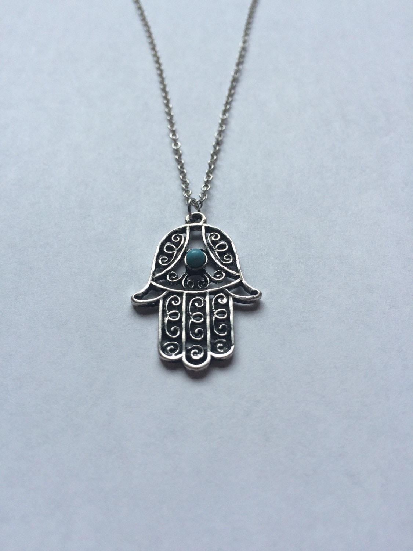 silver hamsa necklace silver plated hamsa by euphorikcreations