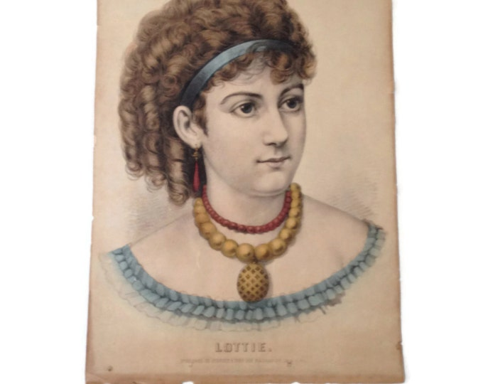 Victorian Lithograph Pretty Lady with Locket, Curls and a Blue Ribbon in Her Hair, Currier and Ives Lithograph, Antique Lithograph