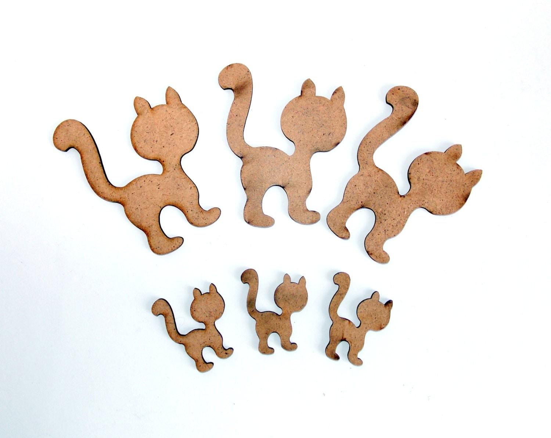 Set Wood Cat, Wood Shapes, Wood Cat, Diy Wooden