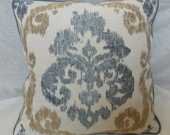 Addlestone-Crypton Home Pewter Designer Decorative Corded Blue Ikat Throw Pillow Cover with  Woven Fabric / Euro Sham / All Size