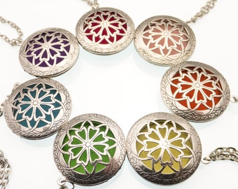Essential Oil Diffuser Locket | Aromatherapy Necklace | Floral Openwork | Celtic Design | Essential Oil Diffuser Pendant | Oil Diffuser