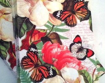 Butterflies Decoupage Napkins Paper Hostess Magnolia pochette collage  by Michel Design Works 4 Napkins only Scrap Booking Decoupage,New