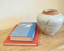 Antique White and Blue Glazed Ceramic Jar, Chinese White Glazed Ceramic Pot