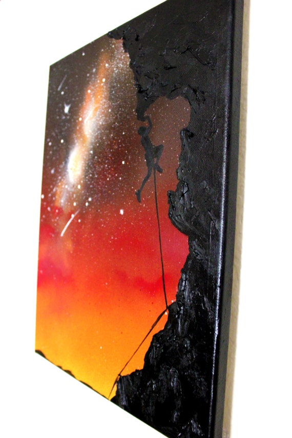 Rock climber silhouette art original painting by kanoelaniart for Spray paint rocks for garden