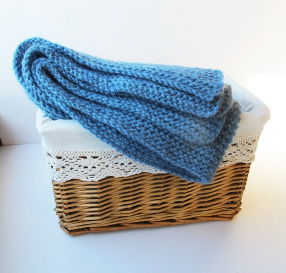 Hand knitted Plaid Baby Wool Acrylic Blanket Blue by ...