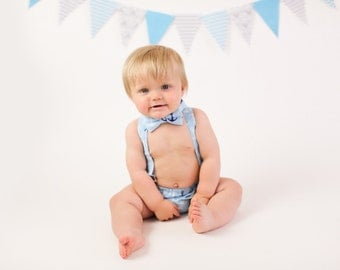 Nautical 1st birthday outfit, light blue 1st birthday clothes, boys 1st birthday, boys cake smash outfit, boys diaper cover, baby bow tie