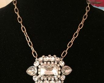 Vintage Rhinestone Brooch Necklace